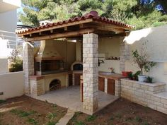 Patio Design Ideas is the most important thing in outdoor kitchen design because it is where you relax and eat your favorite meals. Outdoor Kitchen Bars, Outdoor Oven, Backyard Kitchen, Outdoor Kitchen Design, Summer Kitchen, Outdoor Cooking, Outdoor Kitchens, Backyard Patio Designs, Pergola Designs