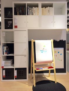 KALLAX combination with high storage for mom and dad and low storage for their young painting talent. Look for the great detail in #wallfinish. #JanineJacobs