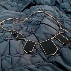 "House of Harlow 1960 / Station Leather Necklace Gold-tone beaded necklace featuring black leather-covered geometric pendants. 20"" chain with lobster-claw clasp and extender. House of Harlow 1960 Jewelry Necklaces"