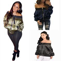 Women Casual Jacket Fashion Boat Neck Long Sleeve Zipper Loose Thin Short Coat