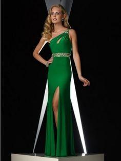 Etui-Kleid Grün Asymmetrisch Bodenlänge Chiffon