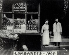 The first licensed pizzeria in the USA, Lombardi's, at 53 1/2 Spring St. in NYC. Gennaro Lombardi and his pizza maker, Antonio Totonno Pero. Late Gilded Age NYC c.1905.