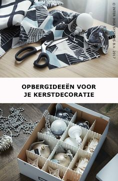 De feestdagen zijn voorbij ... tijd om je kerstdecoratie op te bergen! Gebruik een doos met deksel en verstelbare ladeverdelers om breekbare kerstballen weg te stoppen. HÖFTA Ladeverdeler, 1,29/3 st. #IKEABE #IKEAidee  Christmas is over ... time to tidy away the holiday decorations! Use a box with a lid and adjustable compartments to storage your fragile baubles. HÖFTA Divider, 1,29/3 pcs. #IKEABE #IKEAidea Ikea Christmas, Idee Diy, Moment, Ranger, Christmas Parties