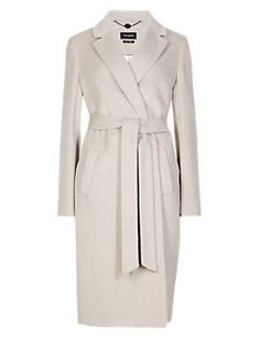 Sand Wrap Over Belted Coat with Wool