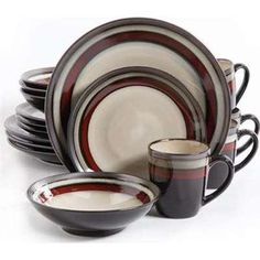 Gibson 107145.16 Ge Lewisville Dinnerware Set Red - 16 Piece  sc 1 st  Pinterest & Virgina 16 Piece Dinnerware Set Service for 4 | Pinterest