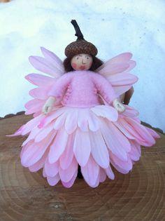 Pink flower fairy by LightofdayCreations on Etsy