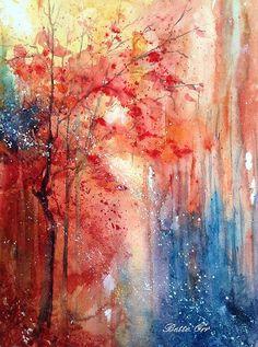 """Autumn Intrigue"" transparent watercolor by Bette Orr..... www.betteorr.com"
