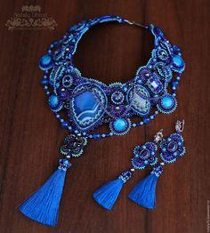 """Купить Комплект """"Blue Moon"""" - синий, синий королевский, ярко-синий, массивное украшение"""