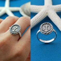 Anchor ring - sterling silver.