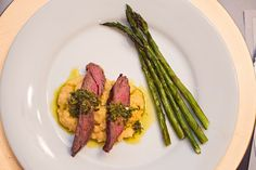 Hanger steak with Italian sals verde, polenta and roasted asparagus.  Still dreaming about this dish!  dc gourmet club: glitz and gourmet.  Winter dinner party