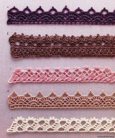 few example Binding edge of crochet Crochet Border Patterns, Crochet Boarders, Crochet Lace Edging, Crochet Motifs, Crochet Doilies, Crochet Flowers, Crochet Trim, Pull Crochet, Crochet Hook Set