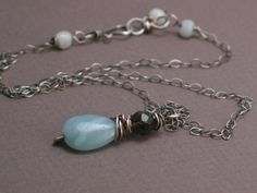 Dora Necklace Amazonite with Smokey Quartz on Oxidized  Love it!