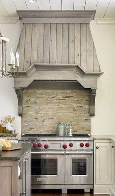 40 Kitchen Vent Range Hood Designs And Ideas Kitchen Hood Design, Kitchen Vent Hood, Kitchen Exhaust, Rustic Kitchen Design, Kitchen Stove, Kitchen Redo, Home Decor Kitchen, Kitchen Cabinets, Kitchen Tips