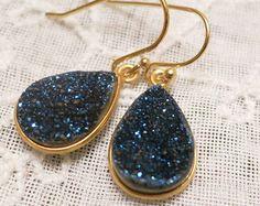 Blue Druzy Earrings, Bridal Druzy Drop Earrings, Blue Sparkling Natural Druzy Stone Teardrop Earrings gold,Every day Jewelry, Blue Drops
