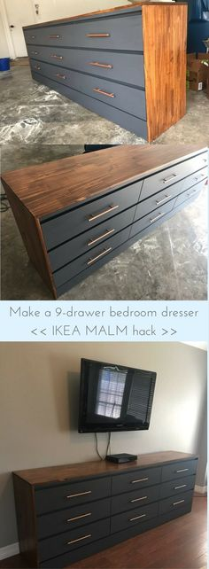Combine two MALM dressers into one XL dresser. Looks amazing! http://www.ikeahackers.net/2017/10/large-chest-of-drawers.html