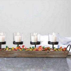 Wood And Metal Votive Candle Centerpiece