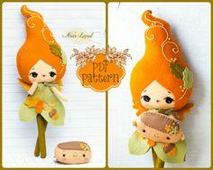 PDF. Autumn fairy doll. Plush Doll Pattern, Softie Pattern, Soft felt Toy Pattern.