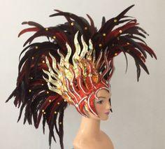 Queen of Fire Glitter Bird Feather Headdress Showgirl Cabaret Costume | eBay