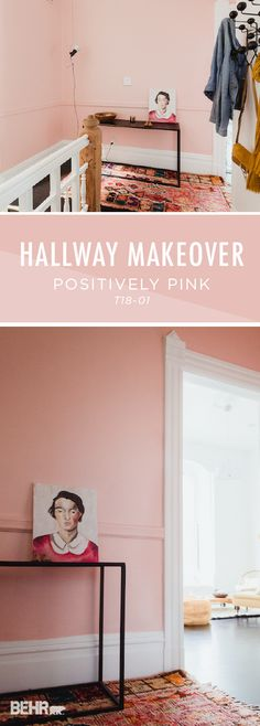 Check out this DIY hallway makeover from Si, of French by Design, for some colorful inspiration on how you can redecorate your home. Si paired the light blush hue of Positively Pink by BEHR Paint with a cozy rug and some vintage artwork to complete her home refresh. Check out the rest of Si's article to see her full easy tutorial.