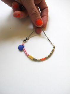 brass chain + pink + cobalt + mustard / dullDiamond