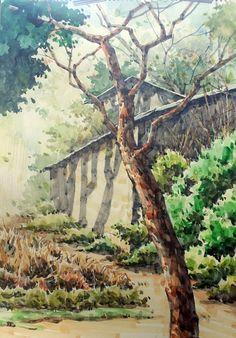Landscape Pencil Drawings, Watercolor Landscape Paintings, Watercolor Trees, Watercolour Painting, Landscape Art, Painting Corner, Watercolor Pictures, Watercolour Tutorials, Illustration Art
