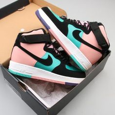 """This Nike Air Force 1 High """"Have a Nike Day"""" comes with Teal mesh on the upper while Black nubuck lands on the overlays. 2019 Nike Air Force 1 High """"Have a Nike Day"""" Sale - 2019 Nike Air Force 1 High Have a Nike Day Sale Cute Nike Shoes, Cute Sneakers, Shoes Sneakers, Sneakers Adidas, Nmd Adidas, Kd Shoes, Sneakers On Sale, Jogger Adidas, Adidas Men"""