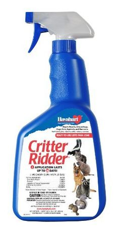 Havahart Critter Ridder 3145 Animal Repellent, Ready-to-Use Spray, 32-Ounce by Havahart. $19.98. Ideal animal repellent for landscaped areas, lawns and gardens, ornamentals, garbage cans, and bird feeders. Patented all-natural, organic formula works quickly and safely to keep dogs, cats, groundhogs, squirrels, raccoons,  skunks and other nuisance animals away from gardens, landscaping, birdfeeders, garbage cans and other surfaces. All-natural, active ingredients, includi...