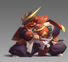 Samurai by WenXu Xu on ArtStation. Character Design Animation, Character Design References, Fantasy Character Design, Character Design Inspiration, Game Character, Character Concept, Concept Art, Ronin Samurai, 2d Game Art