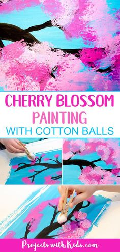 Kids will love using cotton balls to create this gorgeous cherry blossom painting! A wonderful spring art project for kids of all ages. for kids Cherry Blossom Painting with Cotton Balls Spring Arts And Crafts, Spring Art Projects, Easy Art Projects, Art Project For Kids, Easy Painting For Kids, Painting Crafts Kids, Painting Activities, School Art Projects, Arts And Crafts Projects