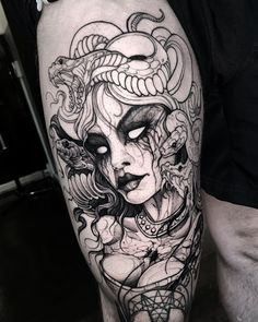 Dmitriy Tkach sur In Medusa Tattoo Design, Tattoo Designs, Tattoo Ideas, Hand Tattoos, Body Art Tattoos, Sleeve Tattoos, Girl Leg Tattoos, Tattoo Sleeves, Tattoo Ink