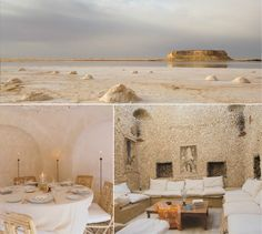 "At the foot of the White Mountain in Siwa, Oasis, Egypt you will find Adrère Amellal Eco-Lodge. ""One of the first things on arrival in Siwa which delights and rests the eye, after the glare of the desert, is the blue stretch of the salt lakes, seen through the date groves.'"" Major T.I. Dunn, 1933"