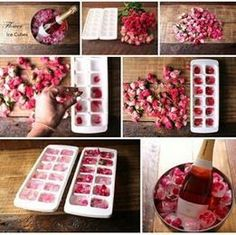 These rose petal ice cubes are the perfect way to add a bit of a pink / floral theme to your hen party, hen do, bridal shower, bachelorette or wedding. Romantic Surprise, Birthday Brunch, Birthday Breakfast, Easter Brunch, Romantic Dinners, Romantic Ideas, Romantic Night, Romantic Gifts, Romantic Dinner Setting