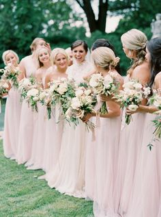 Blush pink chiffon bridesmaid gowns: http://www.stylemepretty.com/collection/4569/