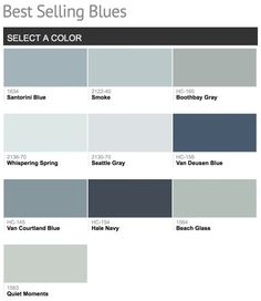Best selling & popular shades of blue paint colors from Benjamin Moore. Santorini blue for bathroom cabinets Interior Paint Colors, Paint Colors For Home, House Colors, Interior Painting, Colors For Walls, Wall Colors, Interior Design, Blue Gray Paint Colors, Grey Paint