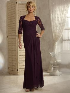 Affordable 3/4 Sleeves Lace Appliques and Chiffon Long Purple Mother of The Bride Dresses 5701007