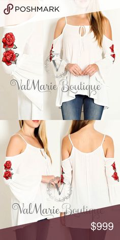COMING SOON - BELL SLEEVE ROSE PATCH SLEEVE TOP COMING SOON - Gorgeous white bell sleeve rose patch sleeve top. S(2-4) M(6-8) L(10-12) - More details to follow ValMarie Boutique Tops