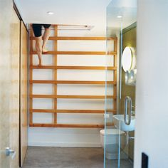 """architects Bronwen Kerr and Pete Ritchie devised a ladder to lead up to a yoga studio from the master bathroom. """"We wanted it to be a young person's house, sort of like a primary school,"""""""