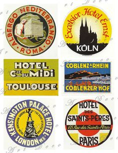 vintage travel luggage labels from london paris rome and koln collage sheet 76. $3.50, via Etsy.