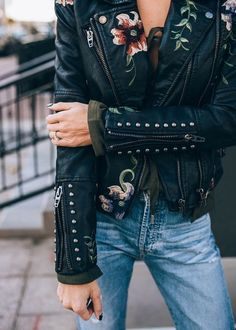 Floral leather jacket.