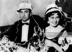 Soraya (Esfandiary Bakhtiary) *-+ Kaiserin von Persien 1951-1958, Iran - mit dem Fuersten Johannes von Thurn und Taxis waehrend einer Party im Palast-Hotel in St. Moritz - Januar 1959