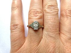 Gatsby Art Deco Engagement ring 9ct Platinum by vintagejewelbox, £195.00