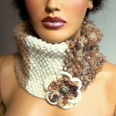 Handknit Beige Neckwarmer Light Brown Ivory Chunky Scarf by Pasin, $46.00