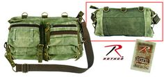 ROTHCO STONEWASHED OLIVE DRAB MESH BAG W/LEATHER ACCENTS, $57
