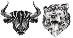 #Bull & #Bear #Tattoo