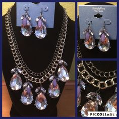 Simply Vera rhinestone necklace and earrings Pretty Simply Vera (Vera Wang) Rhine stone necklace and earrings. New and perfect! Kind of alight blue/ lavender tone to the large rhinestones and light lavender/blue tone to smaller ones. On a silver tone chain. Adjustable back. Simply Vera Vera Wang Jewelry