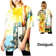 Desigual Women T-Shirt Yellow Pattern, T Shirts For Women, Clothes For Women, Cool T Shirts, Kimono Top, Spring Summer, Slip On, Clothing, Sleeves