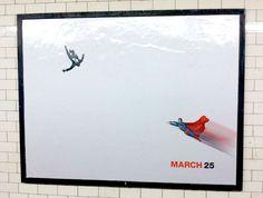 Street art additions to minimalist Mad Men subway posters.