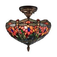 Dale Tiffany Sonota 3 Light Dark Antique Brass Semi Flush Mount Light With  Art Glass Shade
