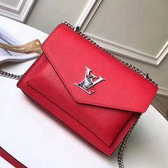 Louis Vuitton Soft Calfskin Mylockme BB Bag M51419 Red 2018 Louis Vuitton Red Purse, Vuitton Bag, Louis Vuitton Handbags, Designer Bags For Less, Red Bags, Luxury Bags, Bag Sale, Bb