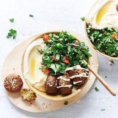 Falafel & tabouli bowls by @ourholistickitchen